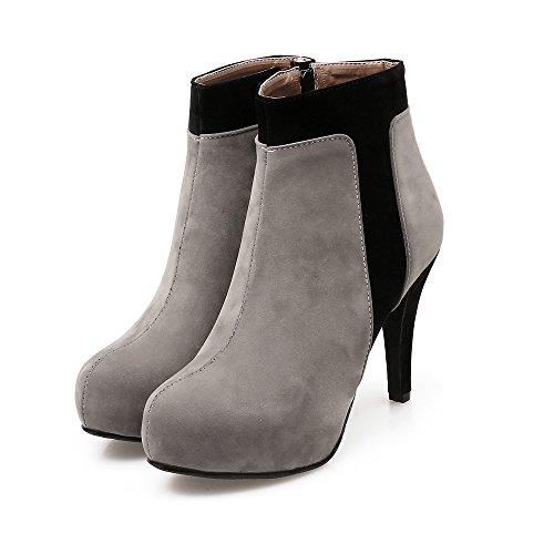 Platform Dames Zip Platform Diverse Kleuren Mode Hoge Hak Korte Laarzen Grijs