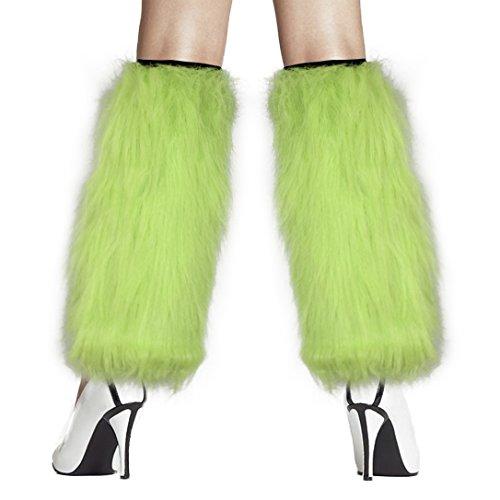 Wilma From The Flintstones Costume (Women's Furry Fuzzy Leg Warmers Costume - Play Kreative TM (Green))