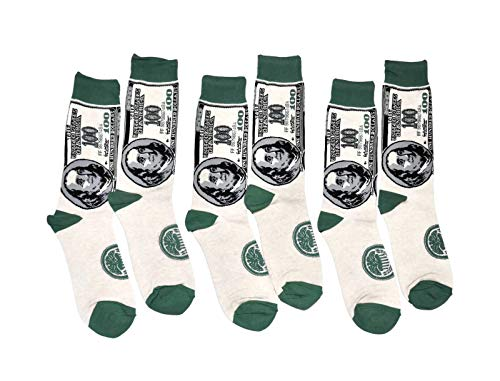 Bop Classy Mens Fun Novelty Crew Socks - 3 Pair Pack (Benjamin Franklin)