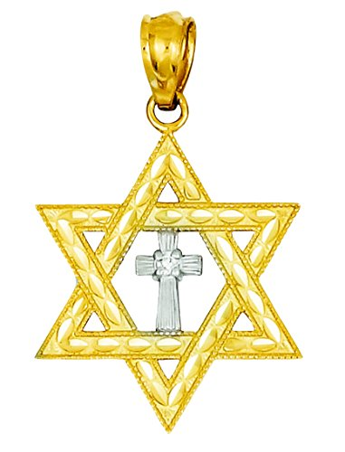 14K Yellow Gold Diamond with Rhodium Star of David with Cross - Star Rhodium Diamond