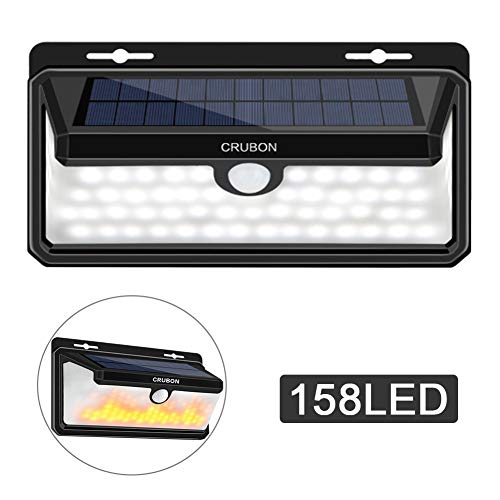 Solar Lights Outdoor, 158 LED Motion Sensor Waterproof 270 Wide Angle Solar Powered Security Wireless Wall Lights with Flame LED Bulb for Garage,Patio,Garden,Driveway,Backyard by CRUBON