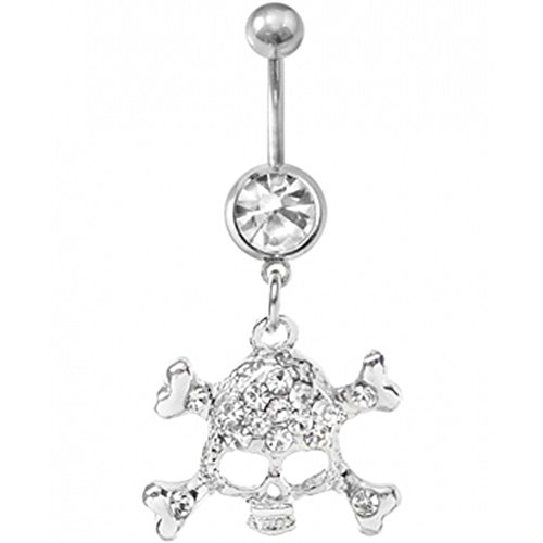 (Kathy store INC 316 Surgical Steel Jewelry Skull Crossbones Dangle Navel Belly Button)