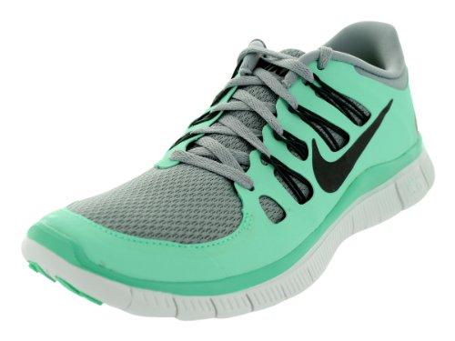 nike free 5.0+ womens silver\/charred grey\/green glow golf