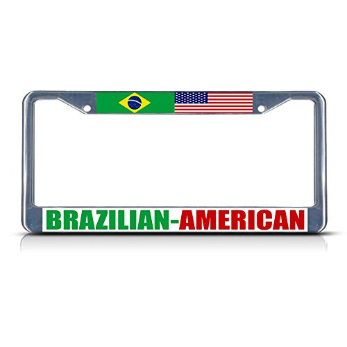 (Brazilian American Metal License Plate Frame Tag Border Two Holes Perfect for Men Women Car garadge Decor )