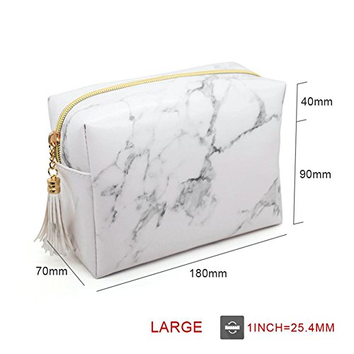 Make Beauty Cosmetic Tassels Women PU Travel Bag Pattern Rectangle Marble Up Portable Large Bag Capacity XUqnC0OwT