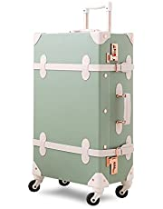 Unitravel Vintage Suitcase Retro PU Trunk Rolling Spinner Lightweight Luggage Travel Trolley Case Carry On Luggage