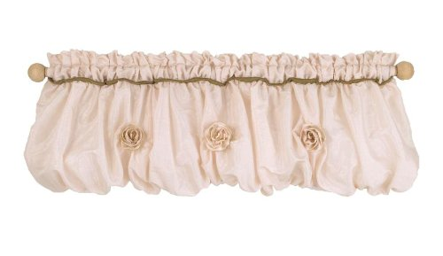Cotton Tale Designs 100% Cotton Lollipops & Roses Shimmery Pink Adorned with Organza Ribbon Roses Balloon Valance Window Treatment (Ribbon Designs Tale Cotton)
