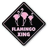 FLAMINGO CROSSING Sign flamingos bird collector gift