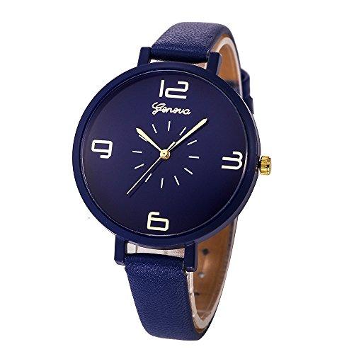 Alalaso Women Casual Checkers Faux Leather Quartz Analog Wrist Watch (Blue) ()