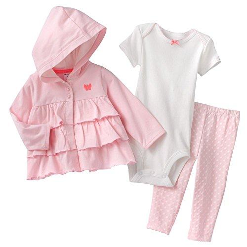 "Carter's Baby Girls ""Butterfly"" Hooded Jacket, Bodysuit & Leggings Set 9 Months Pink"