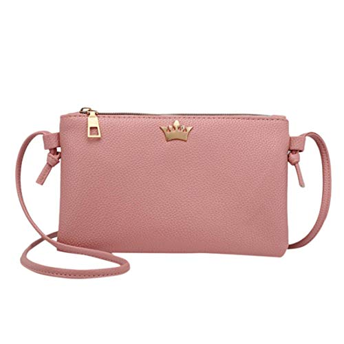 Leather Coin Bags Crown Bag Shoulder Women Bags Fashion Messenger Bafaretk PINK Solid Crossbody vqBHHw