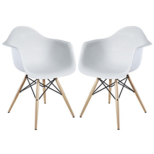 929 Dining Set (Modway Pyramid Dining Armchairs with Natural Wood Legs in White - Set of 2)