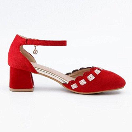 Coolcept Mujer Correa de Tobillo Bombas Zapatos con Tacon Red