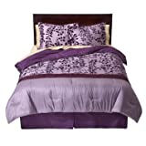 100% Cotton Flocked Comforter Set, Full/Queen size - Purple