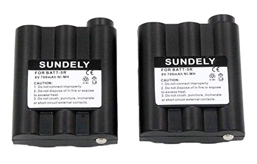 SUNDELY 2 x 700mAh Ni-MH Battery Packs BATT-5R For Midland 2 Two Way Radio Walkie Talkie