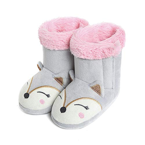 Bootie Slippers For Girls - Girls Fox Slippers Booties Plush Cute