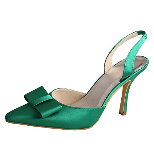 Evening Green Bpws Shoes High Womens Satin Wedopus Party MW980 Pointed Toe Heel xazwP6q0B