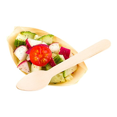 "Mini Wood Spoon, Wooden Spoon - Fun Eco-Friendly Spoons - Natural Wood Color - 4.25"" - 500ct Box - Restaurantware"