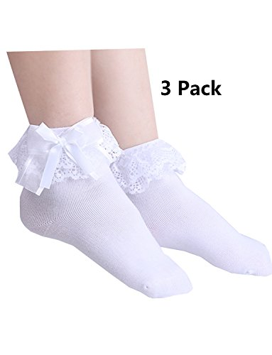 Price comparison product image White Girl's Cute Lace Ruffle Princess Style Cotton Socks(Pack of 3)