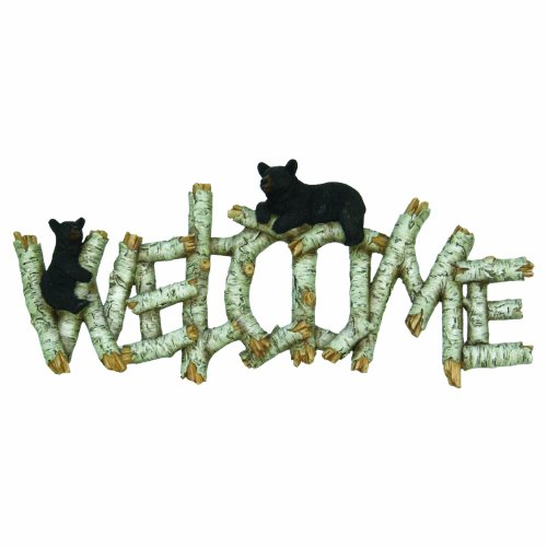 River's Edge Birch/Bear Welcome Plaque, Brown