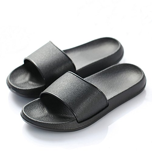 ALOTUS Unisex Classic Anti-Slip Slide Sandals Summer Slippers Black White Color