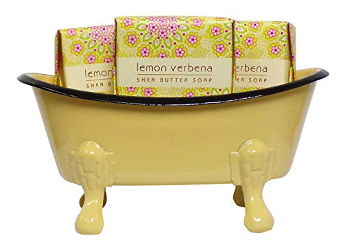 Mini Metal Bathtub Gift Set with 3 Shea Butter Moisturizing Soaps (Lemon - Lemon Moisturizing Soap
