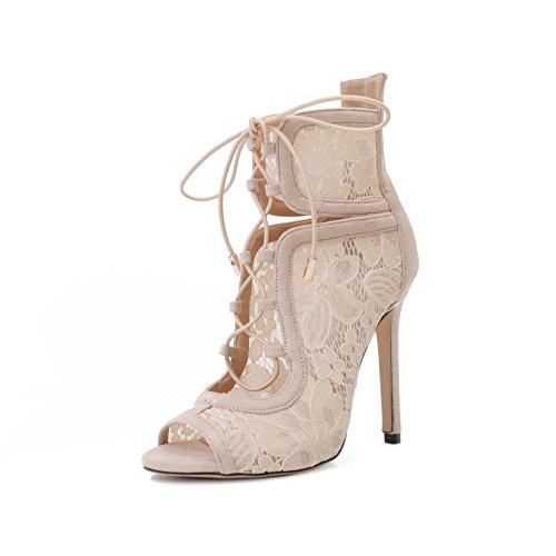 tacón de de Elegante puntilla roman pescado tacón boca zapatos boca expuestos encajes zapatos de apricot de pescado wYSZqPw
