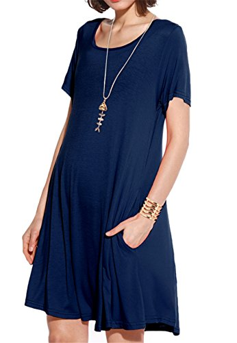 (JollieLovin Women's Pockets Casual Swing Loose T-Shirt Dress (Navy Blue,)