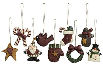 old world mini christmas ornaments 9 piece set vintage style country primitive christmas holiday dcor - Primitive Country Christmas Decorations