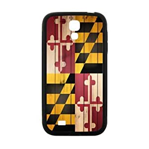 Novelty Maryland States Flag Wood Pattern SamSung Galaxy S4 I9500 Case Cover TPU Laser Technology Rubber Sides Shell