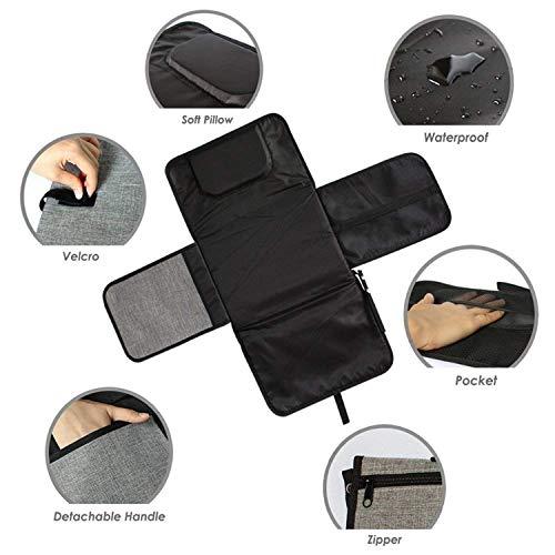 Cambiador de pañales portátil para bebé, cambiador de pañales impermeable con almohada integrada, cambiador de viaje plegable (incluye una toalla de gasa ...