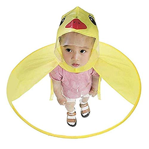 Infant Toy Kids Raincoat Cartoon Raincoat Packable Children's Hooded Poncho Cloak (S, Yellow ()