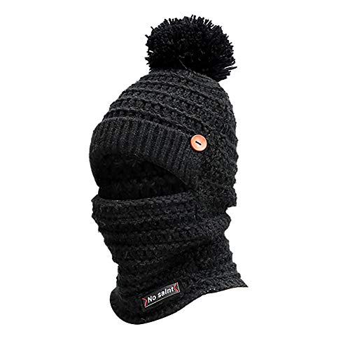 Iusun Women Winter Warm Earmuffs Knit Beanie Hat Mask Scarf Neck with Pom Pom Ball Crochet Hairball Dome Baggy Fleece Snow Fashion Slouchy Windproof Caps with Visor Stitching Outdoor (Black)