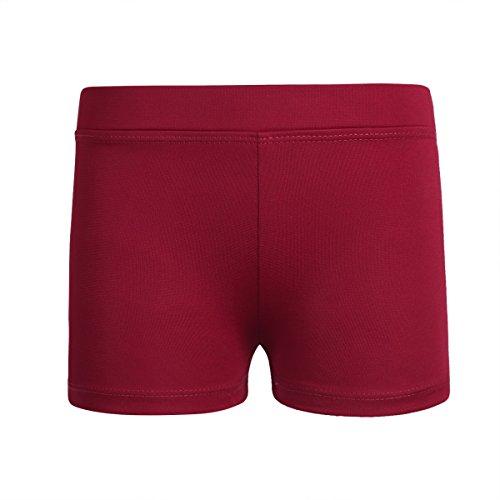 Freebily Girls Boy-Cut Shorts Low Rise Solid Booty Bottoms Dance Underwear Burgundy 8