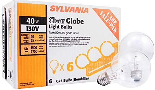 Sylvania 14191 130-Volt 40-Watt G25 Clear Globe Case Value Pack Incandescent Bulb