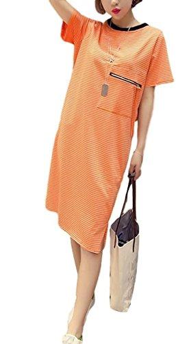オセアニアソフィー楕円形ELPIS レディースワンピース ストライプ コットン 半袖 Tシャツドレス 大き目 サイズ豊富 オレンジ S