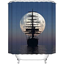 Fangkun Shower Curtain Art Painting - Driving Vintage Sailing Pirate Ship in The Moonlight Design - Polyester Bathroom Curtains Decor Set - 12pcs Shower Hooks (72 x 72 inches, YL073#)