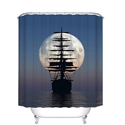 Fangkun Shower Curtain Art Painting - Driving Vintage Sailing Pirate Ship in The Moonlight Design - Polyester Bathroom Curtains Decor Set - 12pcs Shower Hooks (72 x 72 inches, YL073#) -