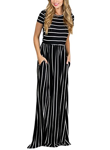 HOTAPEI Women's Summer Casual Loose Long Dress Short Sleeve Pocket Maxi Dress Black and White Striped, Large