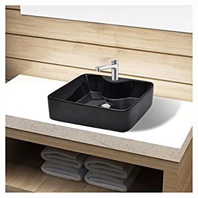 Bathroom Sink, Bathroom Sink Basin with Faucet Hole Ceramic Black