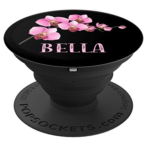 Bella Gift Pink Flower Cherry Blossom Black Bella - PopSockets Grip and Stand for Phones and Tablets -