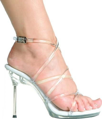 Ellie Shoes Metallic Heels - Ellie Shoes Women's 4.5 Inch Metallic Heel Strappy Sandal (Clear;5)