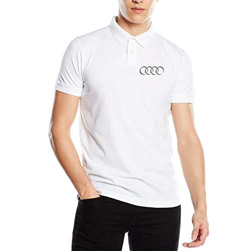 - UESEU Customized Audi-Logo Short Sleeve Cotton Golf Polo Shirts T-Shirts for Men White