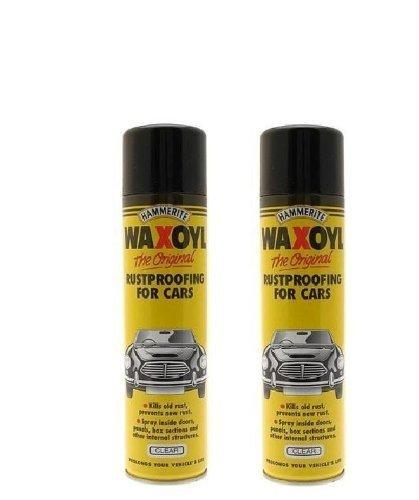 2 X HAMMERITE WAXOYL CLEAR 400ML AEROSOL SPRAY RUST PROOF PREVENTION - 5092943