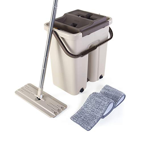 (Kitchen + Home Wash & Dry Mop - Self Cleaning Flat Mop and Bucket System with 2 Reusable Microfiber Mop Pads for Wet and Dry Mopping on All Floor Surfaces (Wash & Dry Mop Pro))