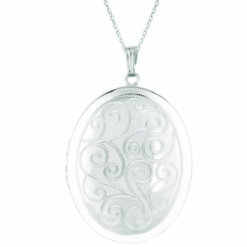 Momento Lockets Sterling Silver Oval Shaped Locket Necklace by Momento Lockets