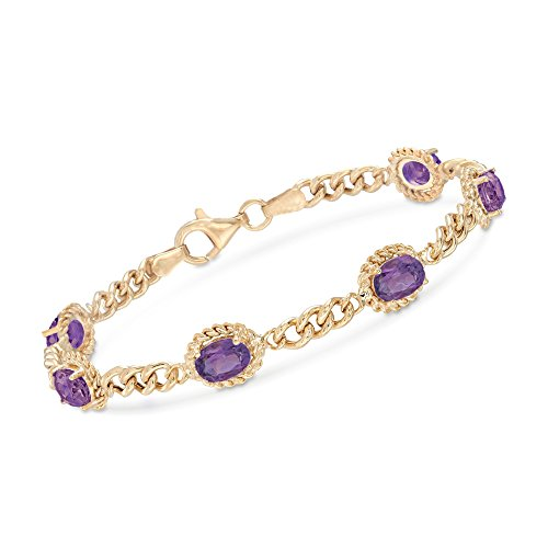 (Ross-Simons 4.40 ct. t.w. Amethyst Link Bracelet in 18kt Gold Over Sterling Silver)