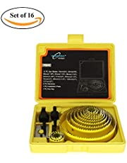 ValueHall 18 PCS Carbon Steel Hole Saw Kit for Wood, Plasterboard, Plastic and Thin PVC Cutter Set V7041-6