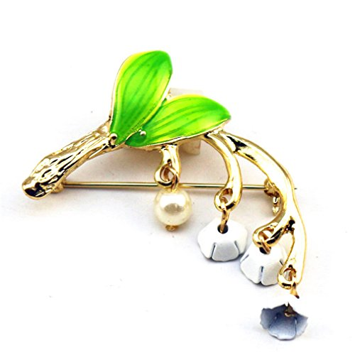 YHDBH Forest Series Green Enamel Plant Style Drop Glaze Alloy Tree Branch Imitation Pearl Girl Collar Pin ()