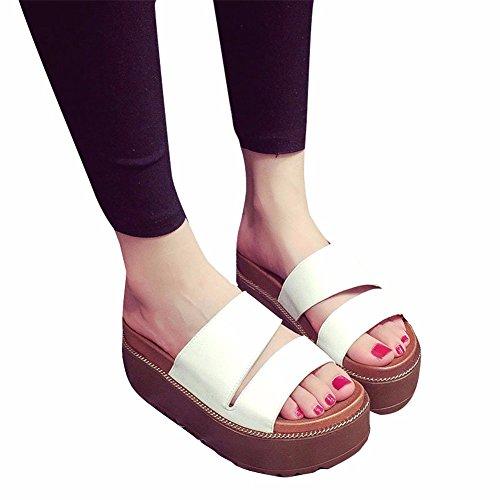 D'Été Occasionnels Chaussures white de YUCH Plates Formes Antidérapant Plage Chaussons Femmes tPSqEwIx